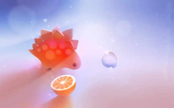 stegosaurus, dinosaur, сердечко, пузырь, апельсин, apofiss, картинка, creative,