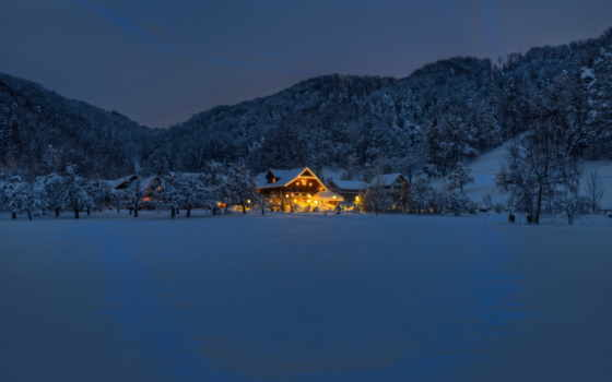 winter, ночь, house