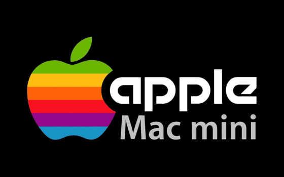 apple mac mini на чёрном фоне