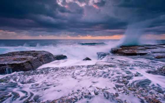 буря, побережье, waves, пенка, море, desktop, mobile, телефон, ноутбук,
