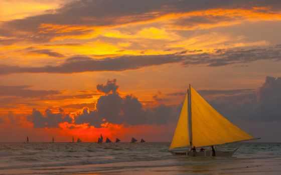 море, красивые, люди, закат, небо, природа, sailboat,