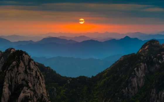 природа, nechral, rising, теме, mountains,