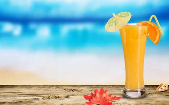 juice, оранжевый, морская, seashell, зонтиком, star, коктейль, еда,