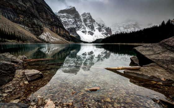 горы, озеро, горах, коряги, moraine, море, чёрное, снежные, камни, туман,
