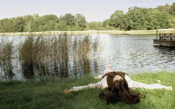 природа, девушка, лицо, трава, гора, recreation, озеро, orman, небо, water, bir