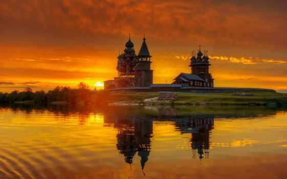 природа, церковь, закат