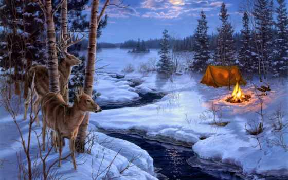 zima, живопись, снег, zhivotnye, darrell, bush, дек,