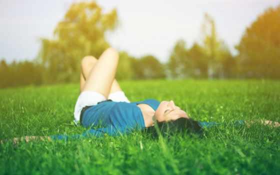 отдых, девушка, настроения, relax, природа, brunette, трава, ситуации,