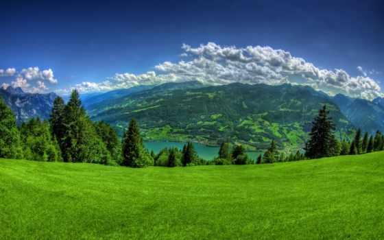 природа, горы, картинка, landscape, небо, компьютера, зеленые, море, фотографий,