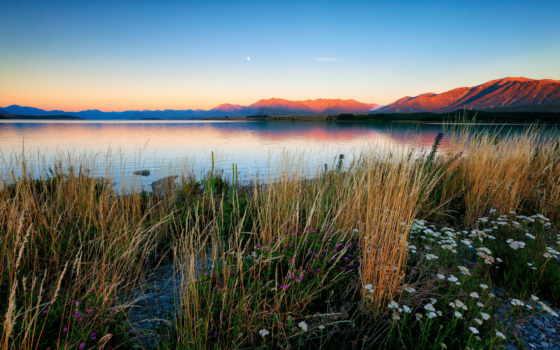 zachód, góry, słońca, trawy, rzeka, pulpit, kwiaty, tapet, tapety, ecran,