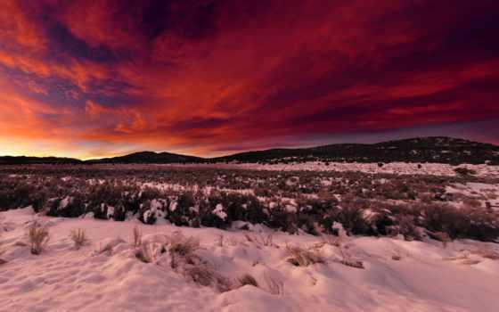 winter, снег, закат, небо, rising, landscape, oblaka, гора, поле, панорама,