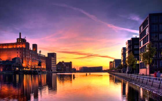 закат, дома, город