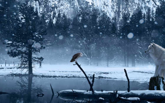 winter, art, снег