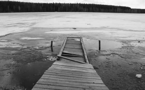 озеро, лед, разлом, фотообои, чёрно, широкоформатные, мост, белые, pier, белая, js,