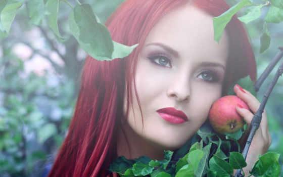девушка, яблони, яблоком, devushki, маски, яблока, простая, apple,