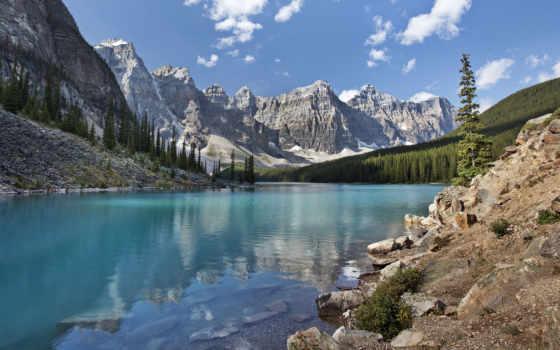 manzara, resim, banff, indir, moraine, doğa, resimleri, yüksek,