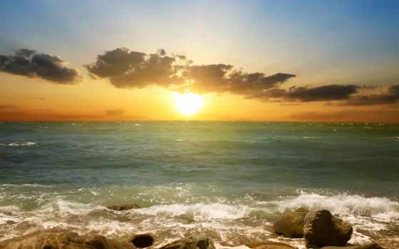 закат, море, пляж, природа, небо, clouds, scene, берег, песок,