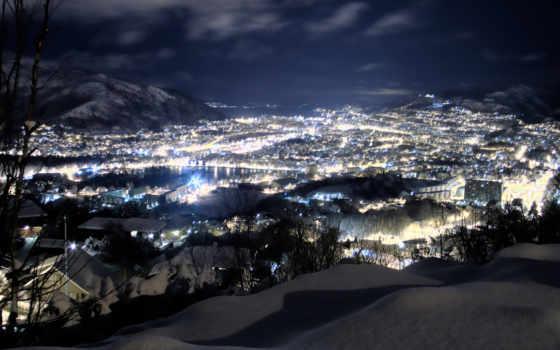 ночь, широкоформатные, зимняя, страница, winter, коллекция, луна,