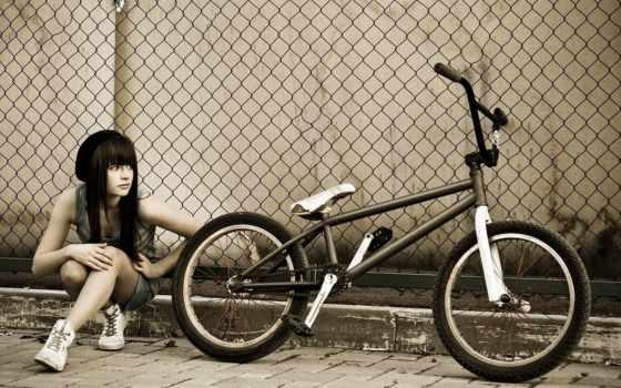 bmx, девушка, забор, bike,