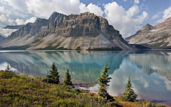 озеро, канада, красивый, гора, озера, природа, бою, канадский, небо