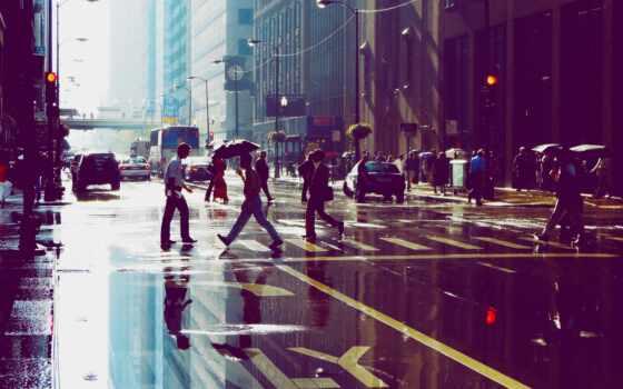 песнь, лужа, отражение, come, building, небоскрёба, chicago, human, улица
