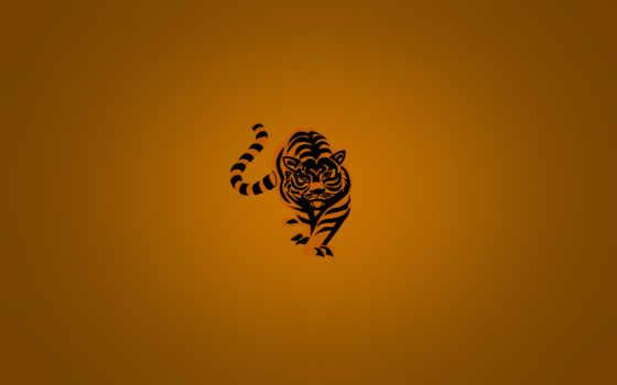 тигр, минимализм, оранжевый, полосатый, shirt, код,