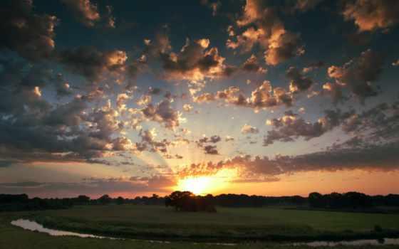 небо, закат, облака