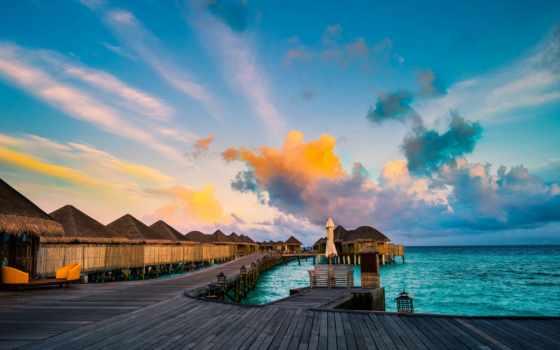 maldives, закат, tall,море,бунгало,