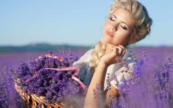 девушка, поле, blonde, природа, макияж, лавандовое, hairstyle, devushki, lavender,