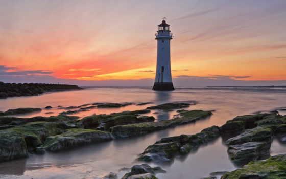 lighthouse, закат, море, landscape, небо, просмотров, пейзажи -, воде,