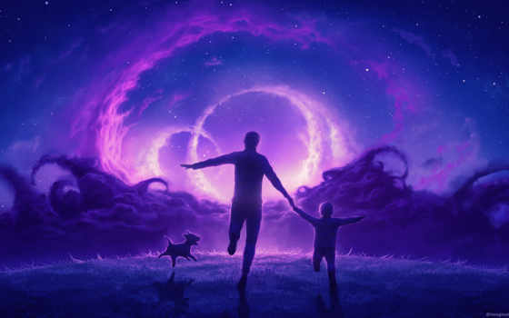 собаки, zhivotnye, силуэты, ночного, fone, неба, силуэт, мужчины, children, девушка,