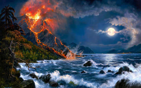 извержение, вулкана, пейзаж, море, вулкан, арт, barnes, jesse, картинка, картинку,