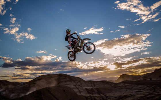 мотокросс, небо, мотоцикл