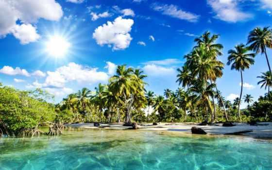 пляж, пальмы, море, природа, tropics, небо, sun, summer, солнечные, rays, oblaka,