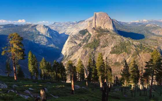 горы, сосны, yosemite, утро, half, dome, природа, park, national, лес,