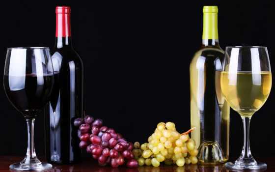 вино, красное, белое, бокалы, виноград, бутылки, вина, плоды, теме, красного,