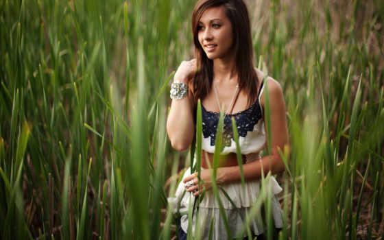 природа, девушка, улыбка, лицо, креативные, трава, взгляд, девушек, devushki, природе,