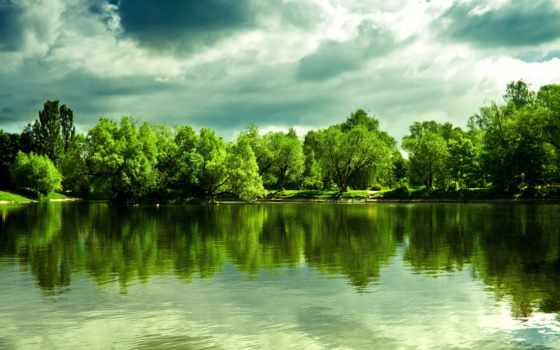 landscape, озеро, отражение, trees, лес, картинка, фотообои, волна, article, пейз, фотопанно,