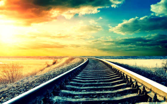 , рельсы, железная дорога, небо, шпалы, ваниль,