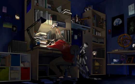 anim, арта, парень, книга, anime, art, спать, комната, девушка
