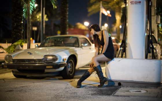 машина, улица, девушка