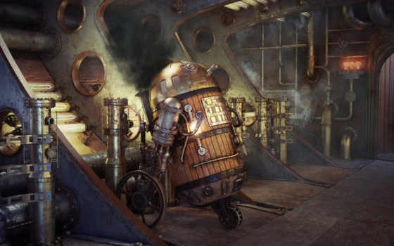 star, wars, steampunk, art, robot, трубы, дым,