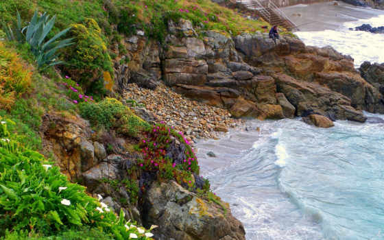 растительность, испания, корунья, берег, рыбак, скалы, море, город,