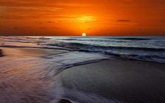пляж, закат, desktop