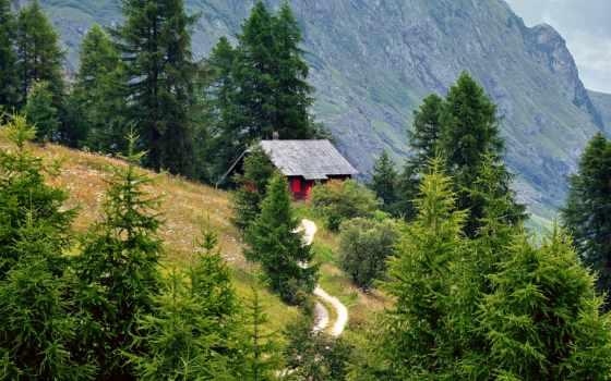 дорога, альпы, деревя, горы, вверх, категории, домик,