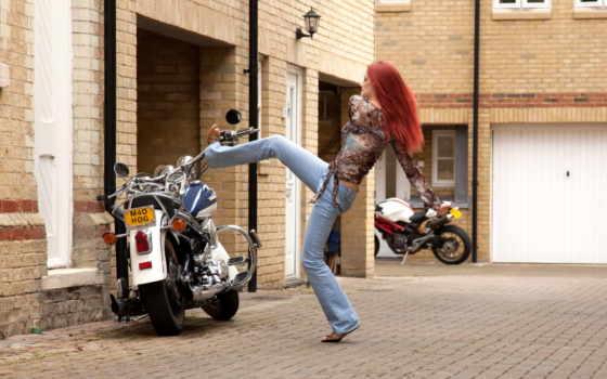 мотоцыкле, kobieta, harley