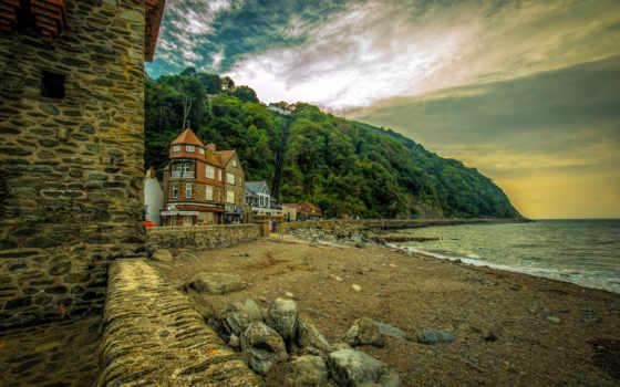 великобритания, природа, камни, побережье, море, дома, london, lynmouth, картинка, trees, ук,