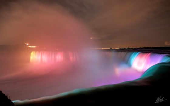 водопад, niagara, water, водопады, ночь, подсветка, радуга, огни,