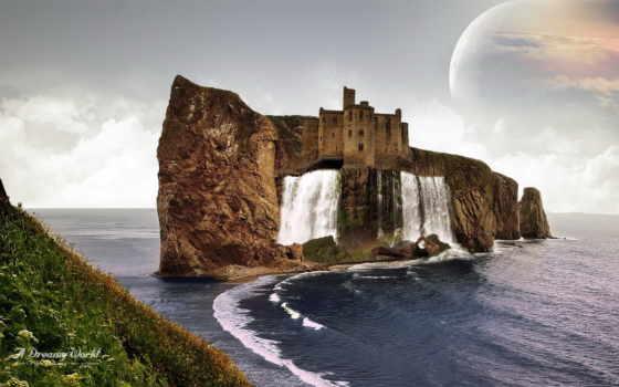 percé, rock, широкоформатные, дома, fantasy, море, природа, креативные,