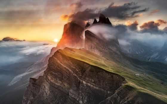 горы, природа, альпы, oblaka, туман, красивые, italian, доломиты,